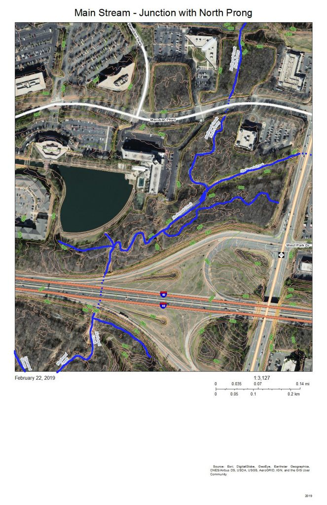 A map of the development around the junction of the North Prong of Northeast Creek with the Main Stream in the Meridian Park office park