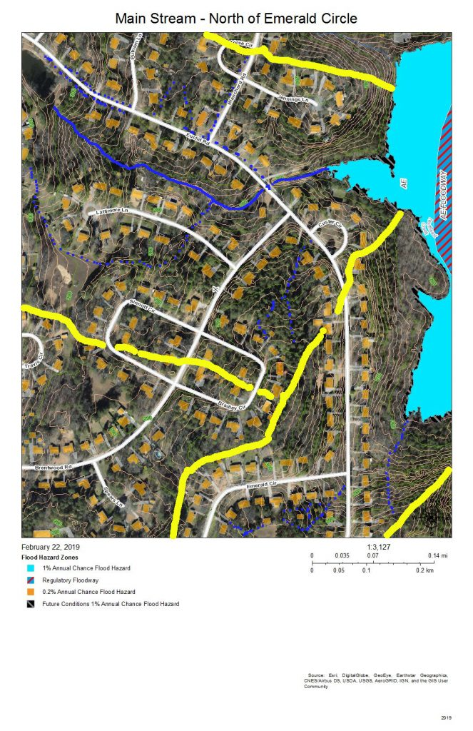 A map of the development around and drainage into the main stream of Northeast Creek north of Emerald Circle