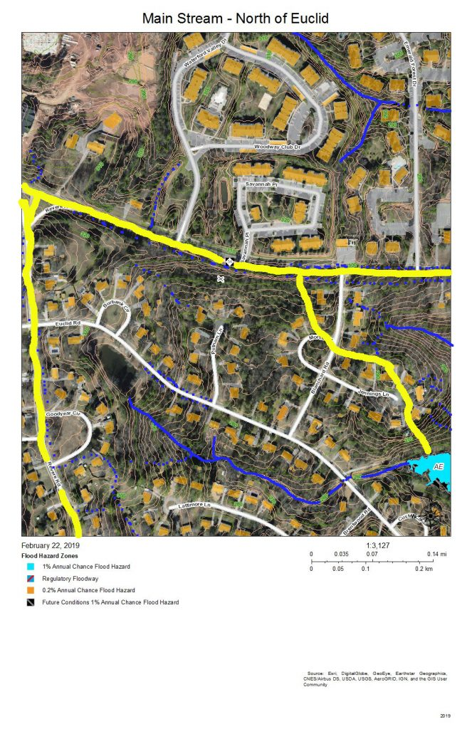 A map of the development and drainage into the main stream of Northeast Creek north of Euclid Drive.