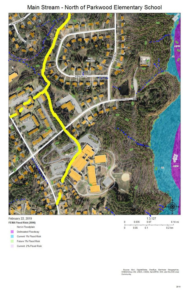 A map of the development and drainage of the main stream of Northeast Creek north of Parkwood Elementary School