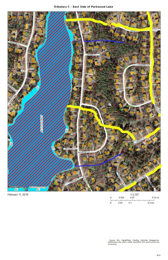 A map of the development east of Parkwood Lake that drains into the lake.