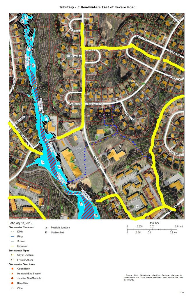 A map of the drainage of Tributary C from east of Revere Road. Major sections of the drainage move through stormwater pipes that go under the parking lot of the former shopping center (now the Jamaat Ibad Ar-Rahman mosque) and empty into Tributary C through a single outfall