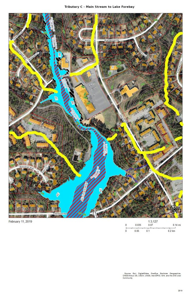A map of the flood zones and development of the section of the main stream of Tributary C north of the forebay. that is, the former lotus pond of Parkwood Lak