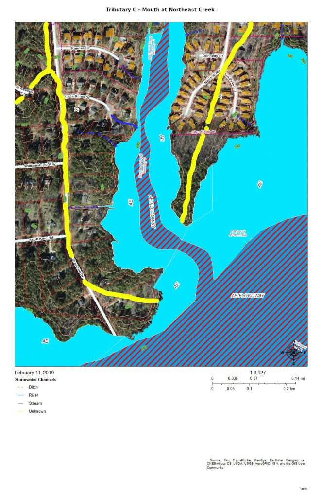 A map of the mouth of tributary C at Northeast Creek with flood zones marked
