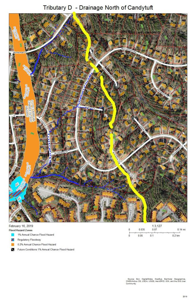 A map of the development and drainage of the east bank of Tributary D north of Candytuft Lane in the Ridges of Parkwood