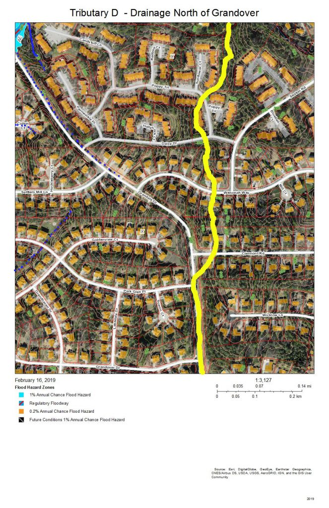 A map of the development on the east bank of Tributary D north of Grandover Drive