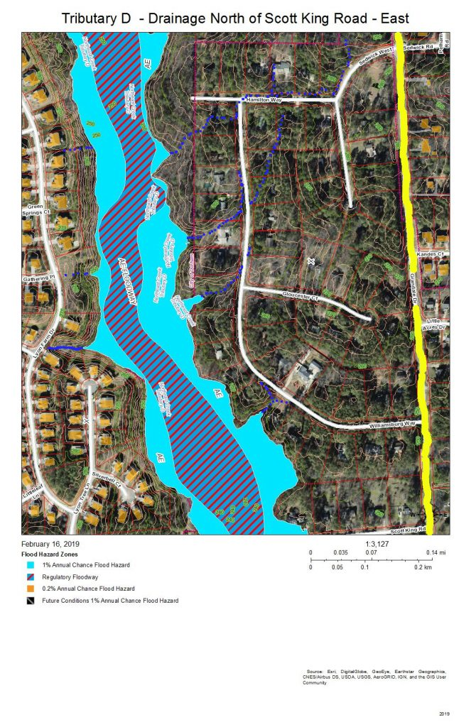 A map showing the east bank of Tributary D to the watershed ridge with Tributary C north of Scott King Road