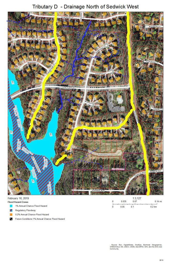A map of the drainage and development of the east bank of Tributary D north of Sedwick West