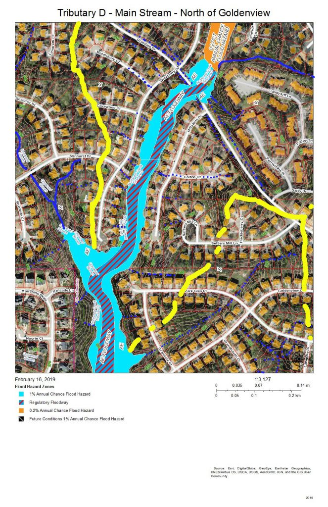 A map of the development and drainage of the Tributary D main stream north of Goldenview Drive