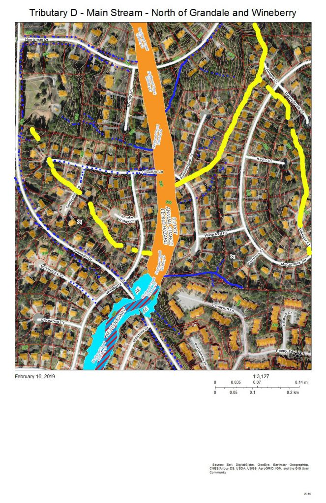 A map of the development and drainage of the main stream of Tributary D north of the intersection of Grandale Drive and Wineberry Drive