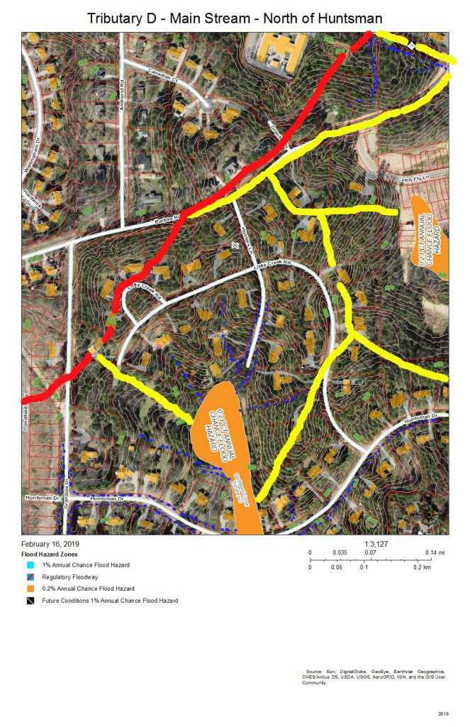 A map of the development and drainage on the main stream of Tributary D north of Huntsman Drive
