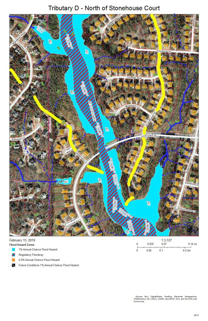 A map of the floodway and development around the main stream of Tributary D north of Stonehouse Court