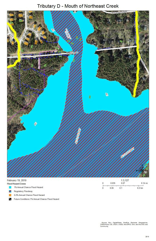 A map of the floodway and development around the mouth of Tributary D at Northeast Creek