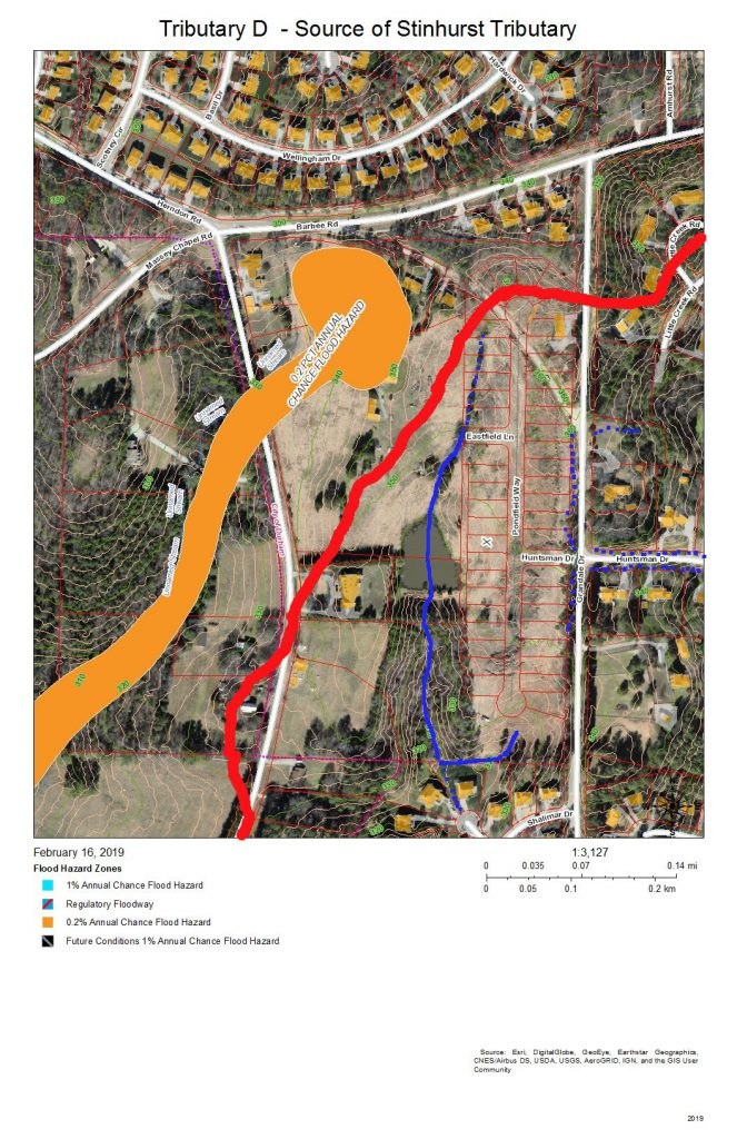 A map of the development and drainage of the tributary of Tributary D that originates upstream of the lake in Lakehurst Pointe.