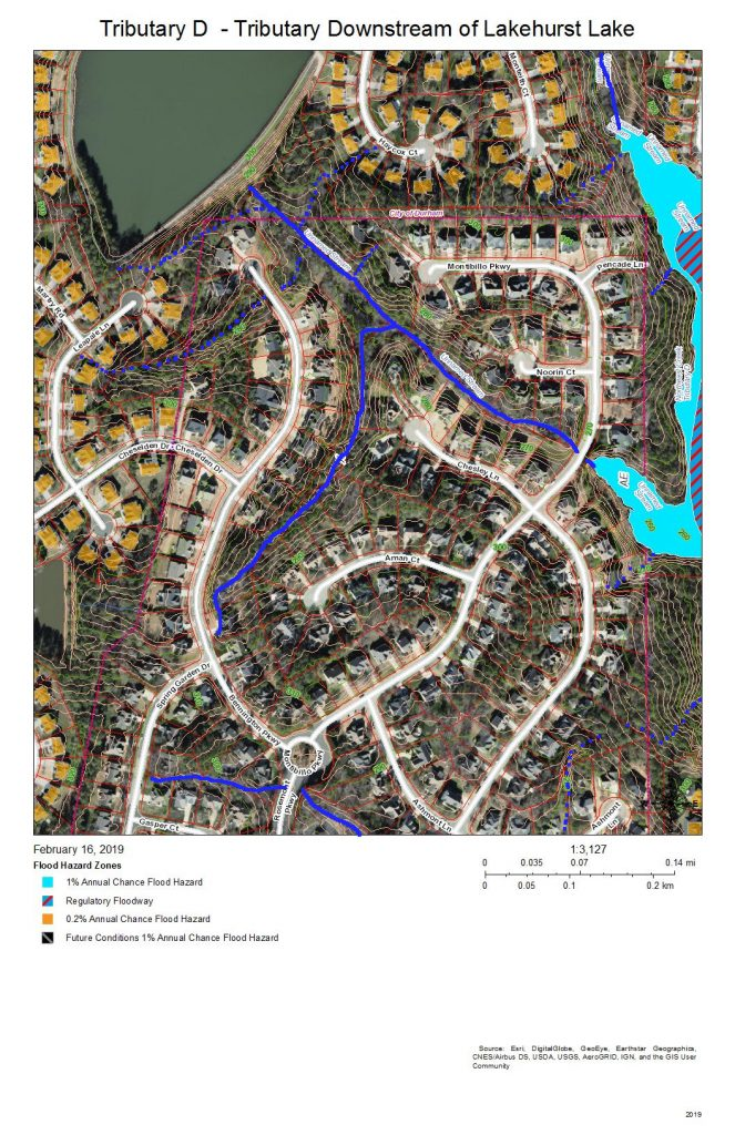 A map of the development on the west side of Tributary D downstream from the Lakehurst neighborhood lake