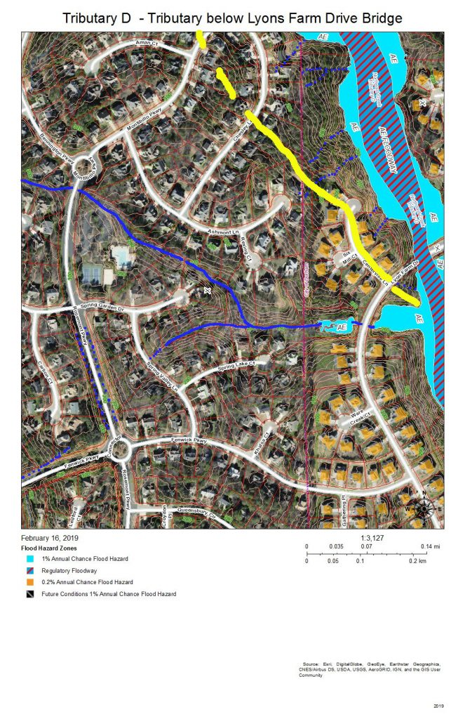 A map of the drainage and development on the west bank of Tributary D below the bridge for Lyons Farm Drive