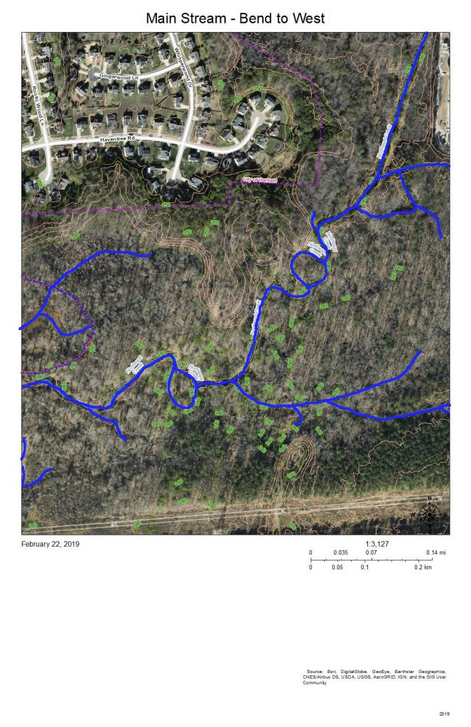 A map of the wetlands of the main stream of Northeast Creek south and east of Audubon Park