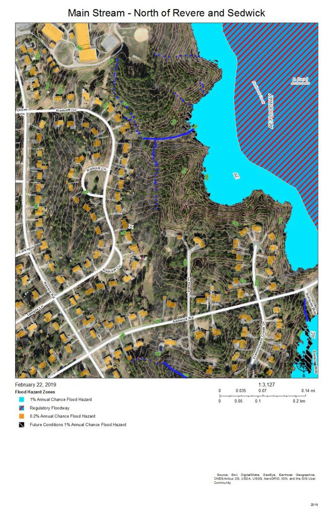 A map of the development around and drainage into the Main Stream east of Revere Road and north of Sedwick Road.