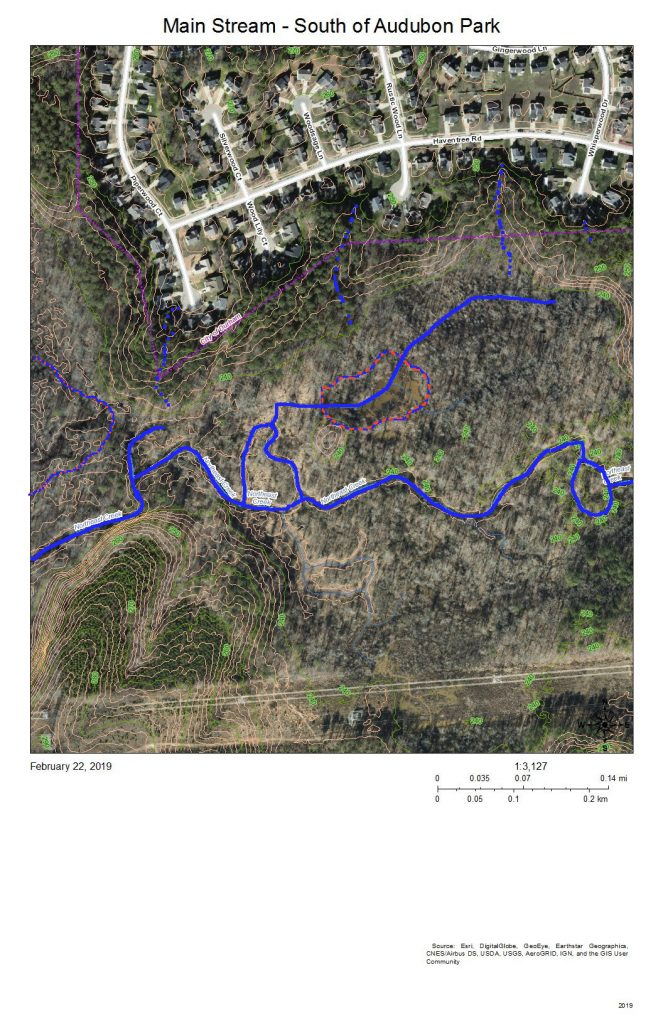 A map of the main stream of Northeast Creek south of Audubon Park