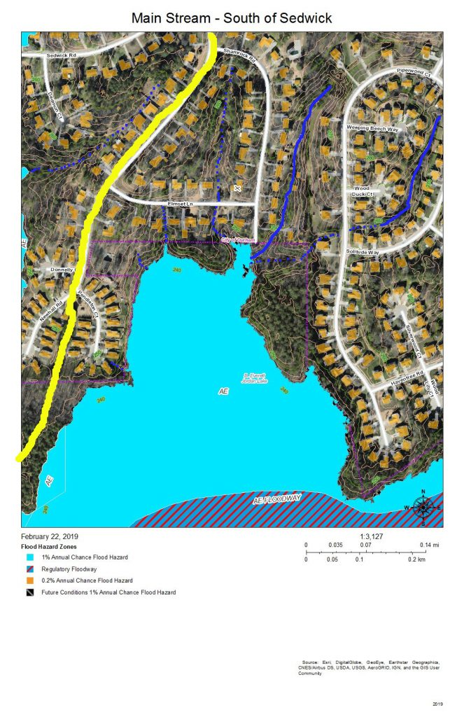 A map of the development around and drainage into the main stream of Northeast Creek south of Sedwick Road